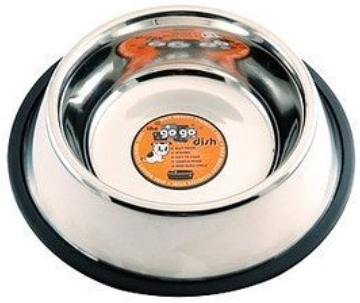 GoGo Pet Products Stainless Steel No Skid No Tip Pet Dog Bowl, 64Ounce