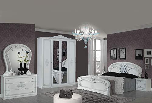 Tamara Laque Blanc Chambre À Coucher Baroque : L'ENSEMBLE avec L'Armoire 4 Portes + Le Lit 160/200 + Les 2 Chevets + La Commode + Le Miroir.