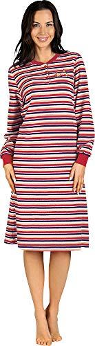 Comtessa Damen-Nachthemd mit hochwertigem Stickmotiv Frottee rot Größe 40/42