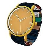 Reloj Cobain & Dandelion- Reloj Unisex - Esfera Mostaza Mate - Correa Pana Azul Marino