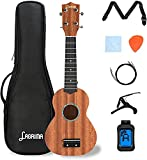 LAGRIMA LGA-310 21 Inch Soprano Ukulele Beginner Kit, Ukulele Set with Tuner, Picks, Strap, Strings, Cotton Cloth & Capo for Beginners, Kids, Adults