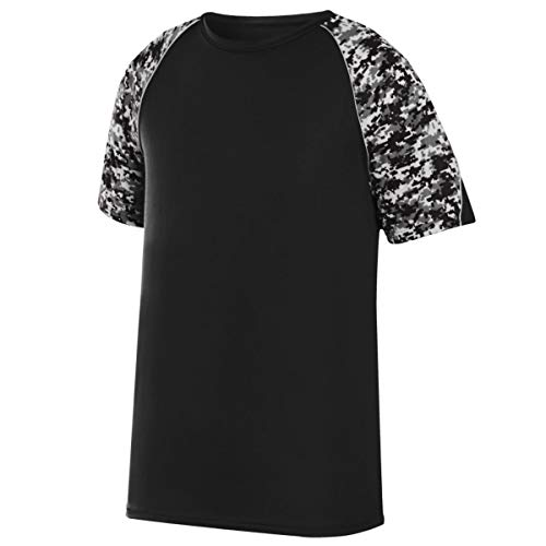 Augusta Sportswear Men's Color Block Digi Camo Jersey, Black/Black Digi/Silver, X-Large