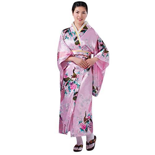 Oksea Damen Morgenmantel Lang Kleid Damen Print Kimono Robe Traditionelles Japanisches Kleid Fotografie Cosplay Kostüm Morgenmäntel für Damen