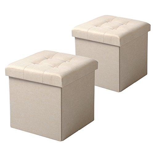 WOLTU SH06cm-2 2er Set Sitzhocker mit Stauraum Sitzwürfel Sitzbank Faltbar Truhen Aufbewahrungsbox, Deckel Abnehmbar, Gepolsterte Sitzfläche aus Leinen, 37,5x37,5x38CM(LxBxH), Cremeweiß