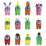 12PCS Among Us Merch Figurine, Mini Cute Figuras de Juego Juguetes creativos de plástico extraíbles Entre Nosotros Muñecas Adornos Cumpleaños para niños (12 Estilos)