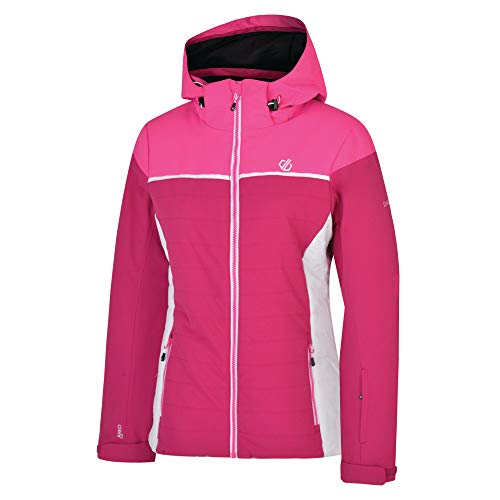 Dare 2b Damen Sightly Waterproof & Breathable Quilted Silhouette Ski & Snowboard Jacket with High Loft Insulation and Taped Seams wasserdichte, isolierte Jacken, Fuchsia/Cyber Pink, 16