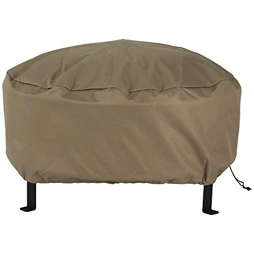 Sunnydaze Outdoor Round Fire Pit Cover - Heavy Duty 300D Polyester - Weather Resistant and PVC Material - Khaki Color 30 Inch Size