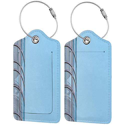 FULIYA Etiquetas para equipaje de viaje para tarjetas de visita, juego de 2, edificio, fachada, cristal, cielo
