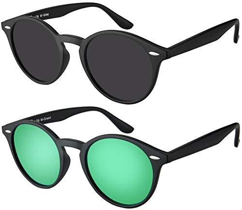 Sonnenbrille Herren Damen La Optica UV400 CAT 3 Retro Vintage Hippie Rund Round - Set Matt Schwarz (1 x Grau, 1 x Grün Verspiegelt)