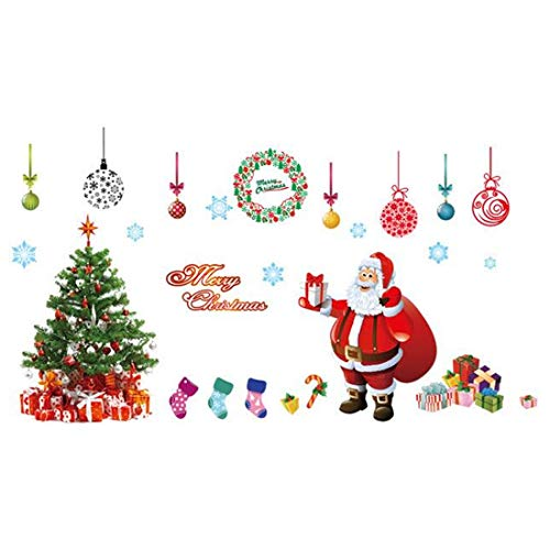 Fltaheroo Christmas Window Stickers Large Santa Claus Xmas Tree Gift Box Candy Socks Clings Ornament