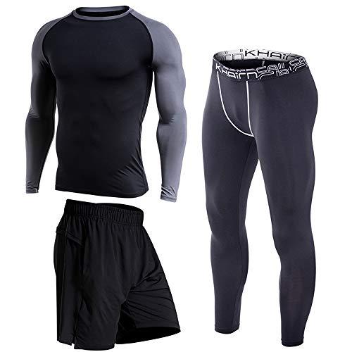 Langärmeliger Herren-Trainingsanzug, großer, schnell trocknender, eng anliegender, dreiteiliger Anzug, geeignet für das Laufen im Fitnessstudio, Basketball und die tägliche Freizeit-E-6XL