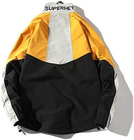 Mens Windbreaker Jackets Retro Vintage Jacket Men Patchwork Coat Hip Hop Streetwear Harajuku