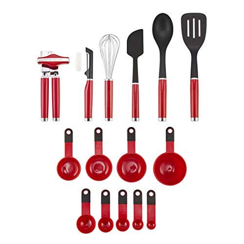 KitchenAid KE447BXERA Classic Tool and Gadget Set, 15-Piece, Empire Red