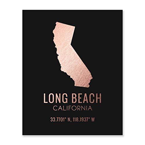 Long Beach California Wall Art Rose Gold Foil Print Black Poster Home Decor New Baby Teen College Woman Gifts State Silhouette Town Map Coordinates Contemporary Nursery Bedroom Office Artwork 8x10 F25