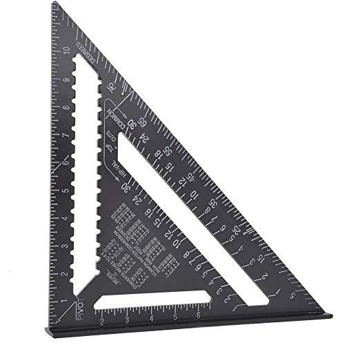 Ladieshow 12インチ プロフェッショナル 読みやすい アルミニウム 直角 三角定規 耐分度器 木工ツール ブラック (アルミニウム)