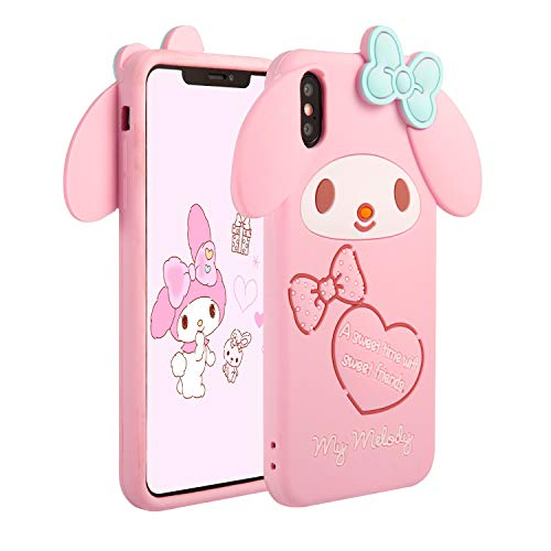 STSNano Case for iPhone XR 6.1',Cartoon Soft Silicone Cute 3D Fun Cool Cover,Kawaii Unique Funny Kids Girls Teens Animal Character Rubber Skn Shell Shockproof Funny Chic Pink Cases for iPhoneXR Melody