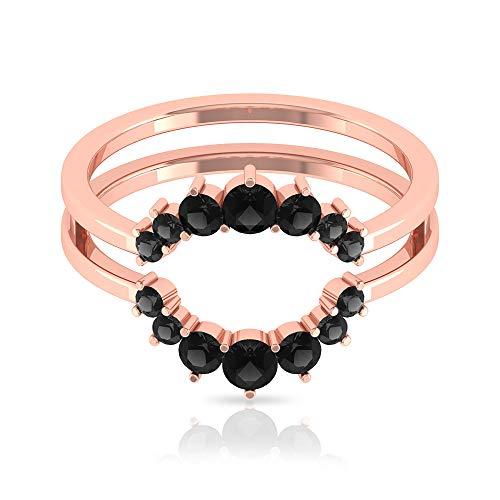 Anillo de ónix negro de 3/4 quilates, anillo de oro de corte redondo, chaqueta de boda, anillo mínimo apilable (calidad AAA), 14K Oro rosa, Size:EU 70