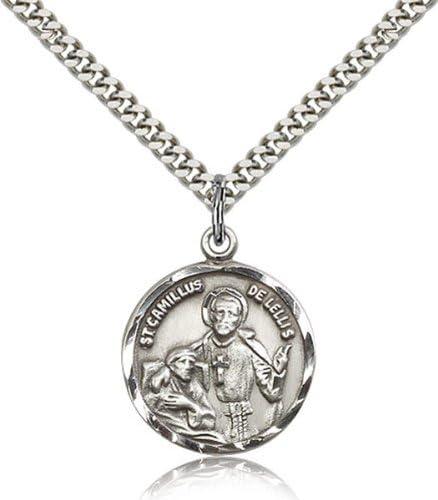 bliss Sterling Silver Saint Camillus Lellis Popularity 7 Pendant Medal of Spasm price