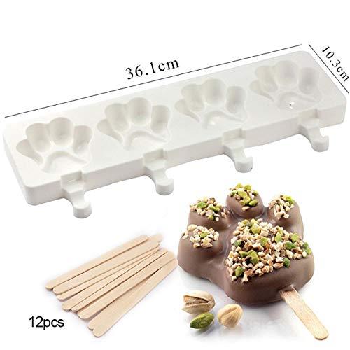 4 Cavités Ice Cream Moule en Silicone Outils de Bricolage réutilisable sorbetière Dessert Moules avec 25pcs de bâtons en Bois, 08
