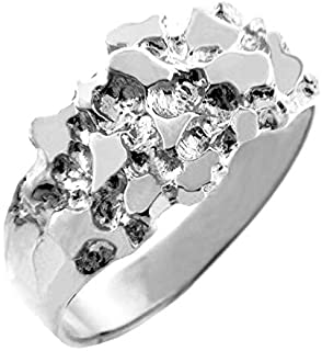 "Men's 925 Sterling Silver Nugget Ring""The Knight"""