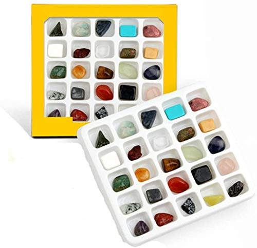 LONYKIBEE Chakra Mineral Specimen Stone 28pcs Rock and Fossil Gemstone Collection Box Kits,Healing Natural Stone Crystals and Gemstones For Kids Raw Stone Gems Geology Science Kit for Education Gift
