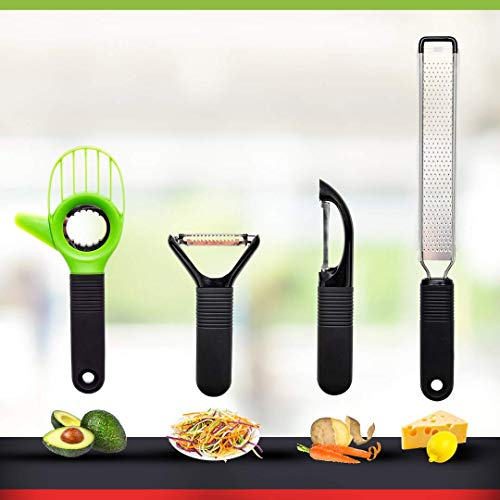 SEIDO Peelers Set Julienne Vegetable With Avocado Slicer Lemon And Cheese Grater and 2 Peeling Tools Kitchen Accessories for Garnishes and Toppings Stainless Steel