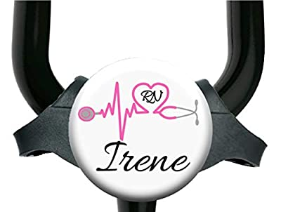 EKG Heart Stethoscope Tag (8 Colors) - Adjustable Steth Tag Id for Tubing Personalized with Name Monogram Occupation Title - Florwer Nurse Identification