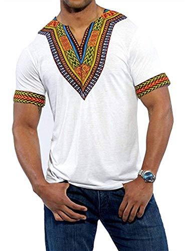 Mcaishen Camiseta De Manga Corta con Cuello En V De Los Hombres Africanos con Cuello En V 2019 Modelos De Explosión Estilo Selva Tropical De Verano Camiseta Suelta para Hombres(XL,White)