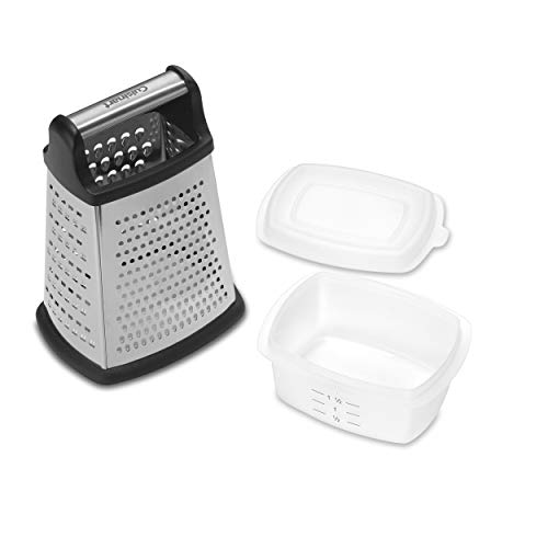 """Cuisinart CTG-00-BGS Box Grater with Storage, 4.75""""(L) x 6.25""""(W) x 9.0""""(H), Silver"""
