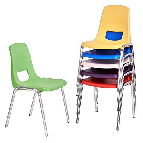 Amazon Basics 14 Inch School Classroom Stack Chair, Chrome Legs, 6 Assorted Color, 6-Pack