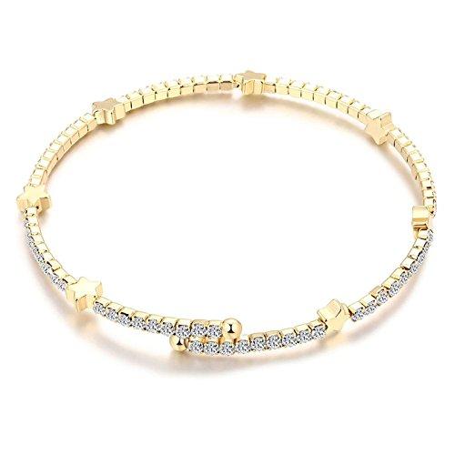 Aooaz Schmuck Damen Armband Armbänder Silber Vergoldet Armband Sterne Zirkonia Weiß Armkette Länge 18 cm