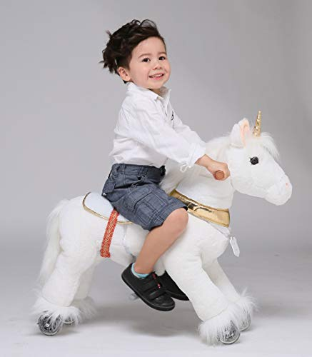 UFREE Horse Action Pony, Walking Horse Toy, Rocking Horse with Wheels Giddy up Ride on for Kids Aged 3 to 6 Years Old, Unicorn with Golden Horn