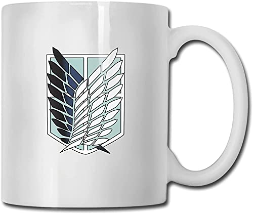Taza clásica unisex con diseño de personajes de anime Attack On Titan, con asa y taza de té para oficina y hogar