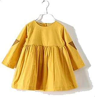 Yellow Cotton Casual Dress For Girls