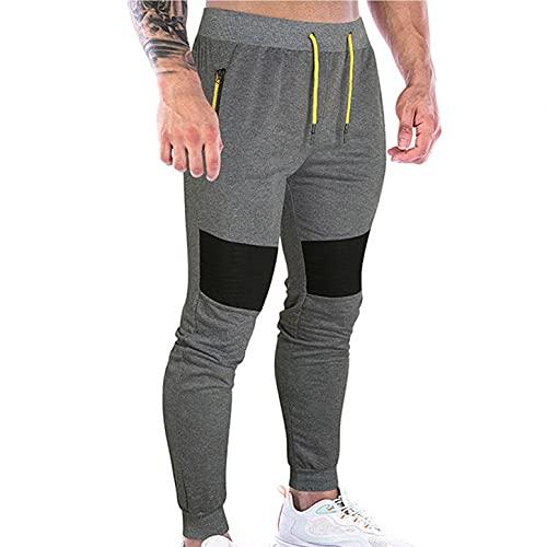 WXZZ Pantalones de deporte para hombre de corte ajustado, pantalones de chándal para hombre, de algodón, con bolsillos con cremallera, pantalones largos de chándal, gris, S