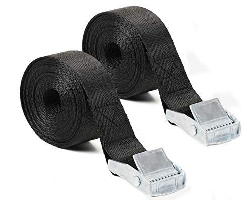 荷締めベルト 荷締バンド 2本セット 幅25mm 長3m 多用途 固定ベルト 結束 梱包 ベルト 固定バンド 地震対策グッズ (ブラック)
