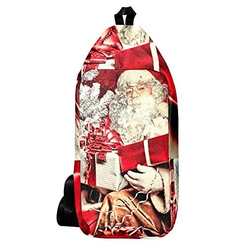 Cangurera Bolso Bandolera Bolso Mensajero Hombre Bolsos de Hombre Bolsos Cruzados Bolso Casual para Trabajo Viaje Tema de Navidad Santa Regalos