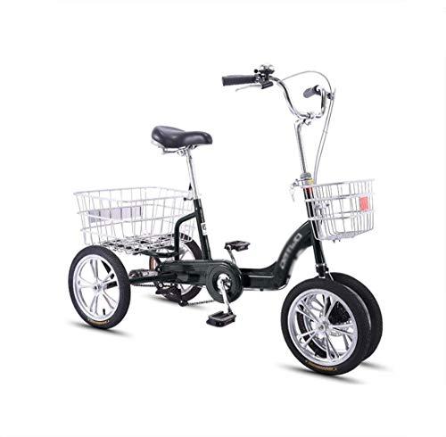 Bicicleta de cuatro ruedas para adultos de mediana edad y ancianos de tres ruedas con canasta trasera agrandada, scooter pequeño, pedal único, mano de obra de 14 pulgadas, estable y no fácil de volca