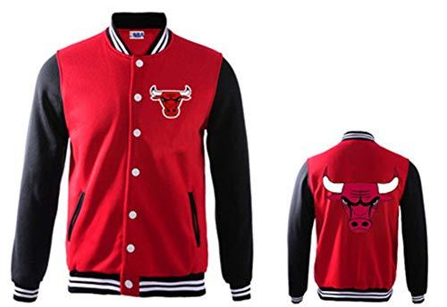 YDYL-LI Herbst Und Winter - Männer Und Frauen - Dicke Kleidung Basketball - Baseball-Uniform # Chicago Bulls Casual Warmer Mantel - Jacke, Rot Und Schwarz,#L(170~175cm)