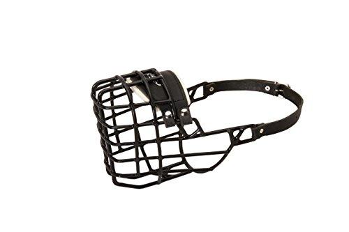 Muselière pour chien en forme de cage métallique pour activités hivernales avec revêtement en caoutchouc noir – Compatible avec Rhodesian Ridgeback mâle