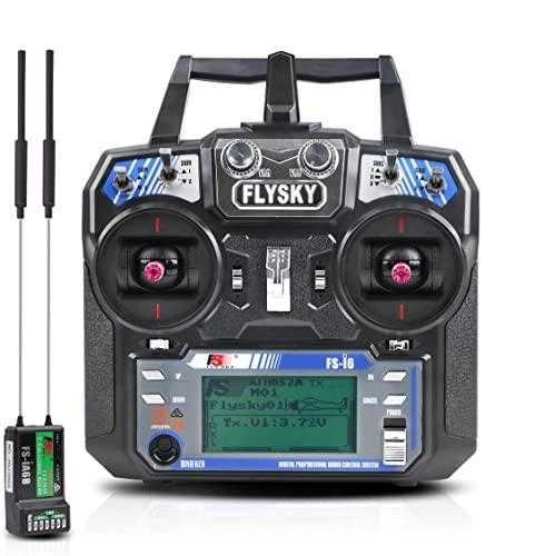 LiteBee Flysky FS i6 6CH RC Funksender + FS ia6B RC Empfänger (2,4 GHz, AFHDS 2A, RC Sender und Empfänger) für RC Drone Quadcopter (Modus 2 Linke Hand)