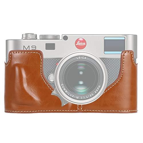 Bjhengxing High-End-Kamera-Kasten 1/4 Zoll Gewinde PU-Leder-Kamera Halbfall Stiftung for Leica M9 (Schwarz) (Farbe : Brown)