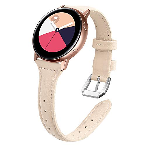 KIMILAR Leder Armband Kompatibel mit Samsung Galaxy Watch 42mm/Watch Active/Active 2 (40mm/44mm)/Galaxy Watch 3 41mm Armbänder Kompatibel mit Garmin Vivoactive 3/4/4S, Forerunner 645/245/Vivomove HR