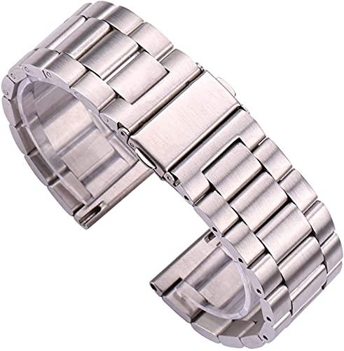 chenghuax Reloj Correa, Reloj de Acero Inoxidable Pulsera de Plata Reloj de Metal Cepillado Silver Hombres Mujeres Correa Accesorios Lanzamiento rápido Barra de Primavera Pulsera