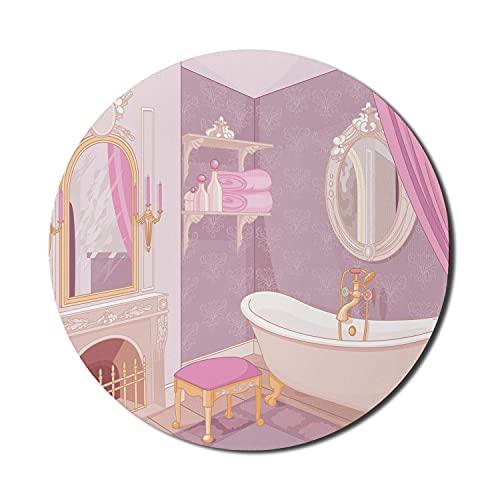 Feminine Mauspad für Computer, Design im Palast der Prinzessin Badewanne Schrank Spiegel Waschraum, runde rutschfeste dicke Gummi Modern Gaming Mousepad, 8 'rund, beige Pink