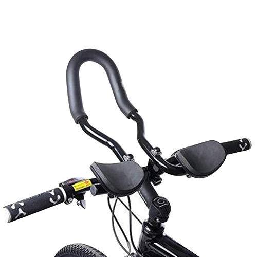 """Reposabrazos de bicicleta, manillar para bicicleta de carreras, bicicletas de montaña, barras de aleación de aluminio, 14,5"""", manillar para bicicleta de montaña largo, color negro"""