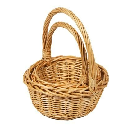 Woodluv - Juego de 2 cestas de mimbre redondas, pequeñas, con asas de transporte largas, color natural.