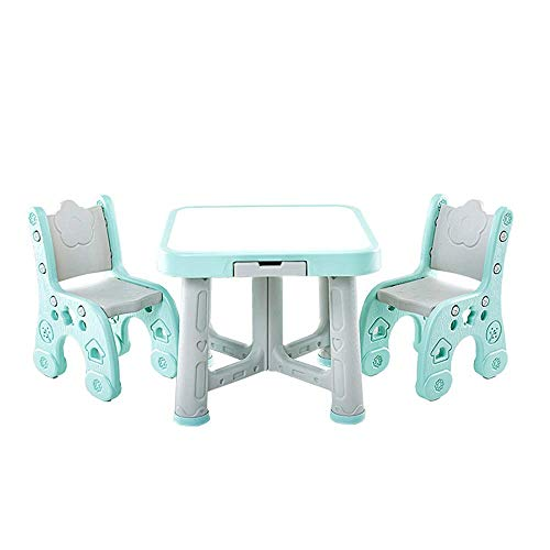 NBVCX Mechanical Parts Children Furniture Kids Play Room Table and Chair Set Activity Kids Table Sets 2 Chairs (Color : Blue Size : 63x51/59x27cm)