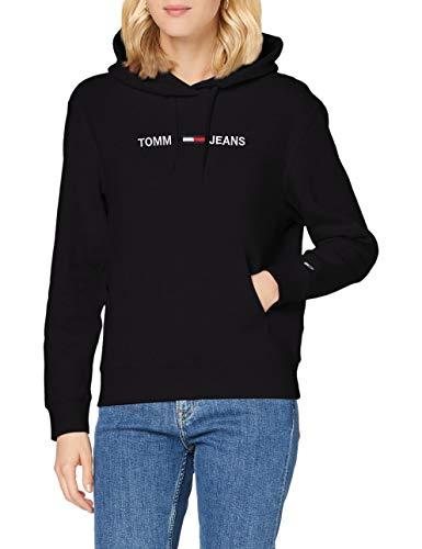 Tommy Jeans Damen Tjw Linear Logo Hoodie Pullover, Schwarz, XL