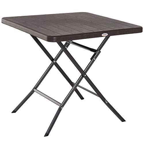 Outsunny Table de Jardin Pliable Table Pliante carrée dim. 78L x 78l x 74H cm métal époxy HDPE Imitation Bois Chocolat